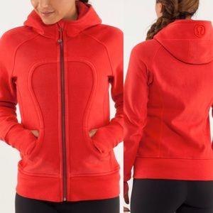 Lululemon Scuba Hoodie Jacket Solid Red Full Zip 8
